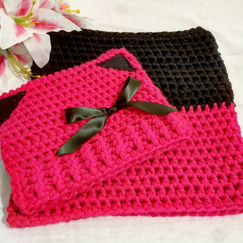 Crochet Cat Hat Winter Accessories Handmade Crochet Hot Pink and Black Kitty Hat with Matching Cowl Winter Hat and Cowl Set Women/'s Hat