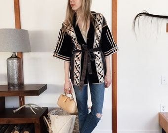 Vintage Velveteen and Ribbon Kimono S M L XL