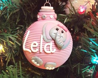 Baby Elephant First Christmas keepsake polymer clay ornament for girl or boy