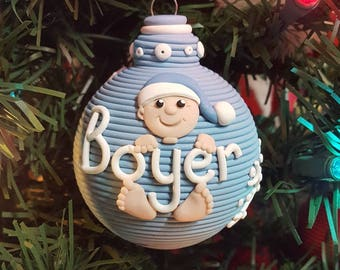 Baby's 1st Christmas polymer clay keepsake ornament for Baby Boy Baby Girl