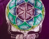 Grateful Dead Steal Your Face Flower of Life Hand Batiked Adult T-shirts
