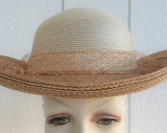 6f52ece2c27f5 Vintage Sylvia Straw Hat Bow Netting Derby Easter Bonnet New York St Louis