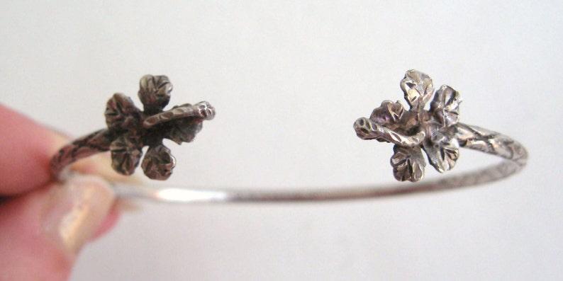 Vintage HAWAIIAN HIBISCUS FLOWER Bracelet Sterling Silver Arm Band Cuff