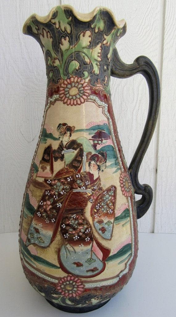 Antique Japanese Moriage Satsuma Vase Hand Painted Slipware Etsy
