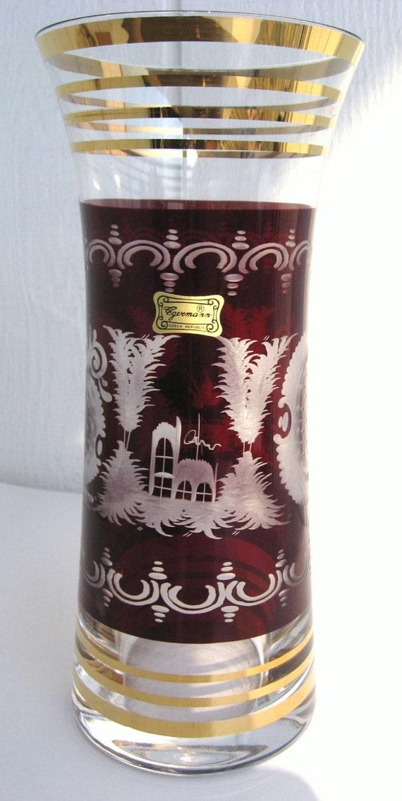 Egermann Bohemian Ruby Red Cut Clear Crystal Art Glass Vase Etsy