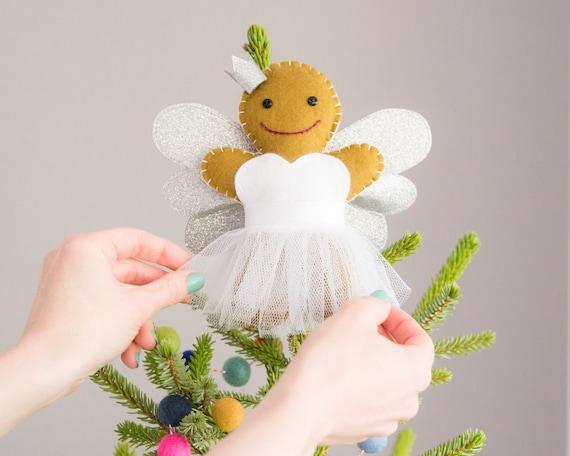 Christmas Angel Tree Topper.Gingerbread Angel Tree Topper Christmas Tree Topper Gingerbread Angel Ornament Christmas Angel Tree Topper Fairy Tree Topper