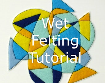 Wet Felting PDF Tutorial - Felt and Stitch Abstract Art Technique - Instant Download