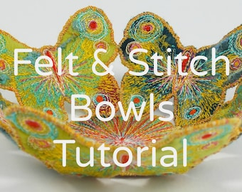 How to Make Handmade Felt & Stitch Bowls. Wet felting tutorial PDF. Step-by-step instructions. Instant download.
