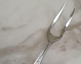Antique Maltese Silver Plated Meat Serving Utensil Fork Ornate Bread Fork Trident 3 Prong Fork Server Old Buffet Serving Flatware Silverware