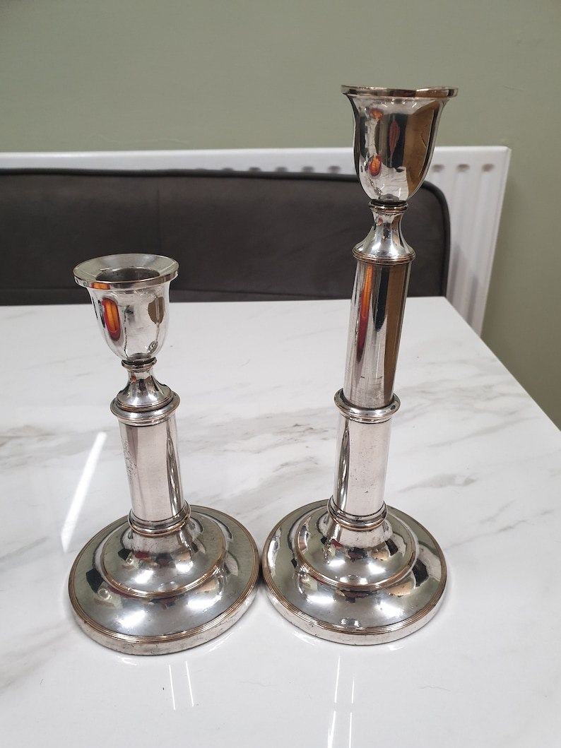 antique silver plate on copper pair of extending candle sticks