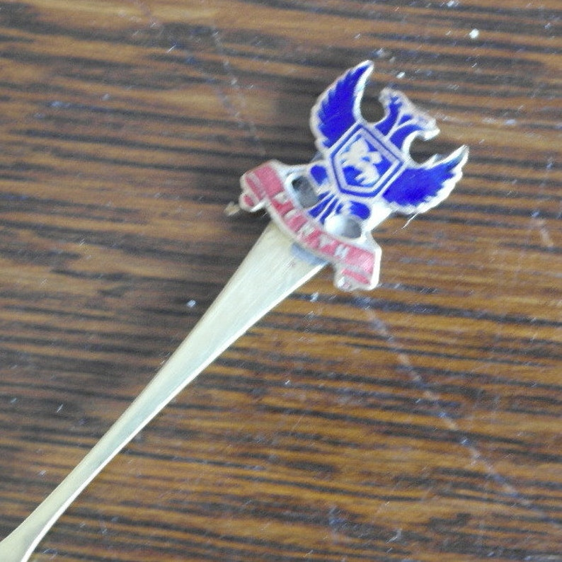 antique silver plate enamel top salt spoon from perth