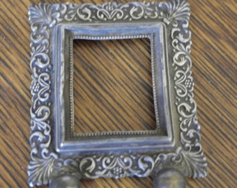 antique sterling silver minature small ornate picture photo frame