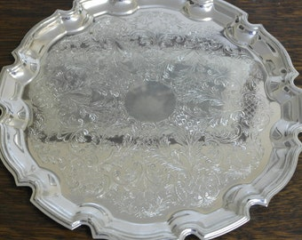 vintage etched silver plate drinks serving tray