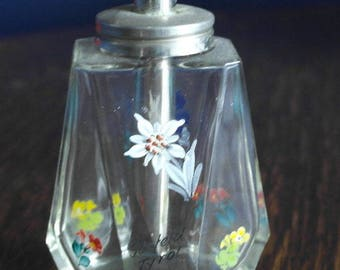 vintage glass hand painted floral sugar sifter caster