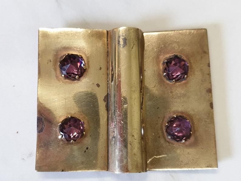 antique brass and purple cut glass belt buckle