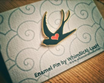 Swallow Enamel Pin by WhimSicAL LusH: Limited Edition Love Bird
