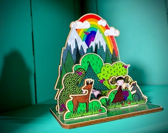 Mountain Girl Wooden World: 3d Diorama