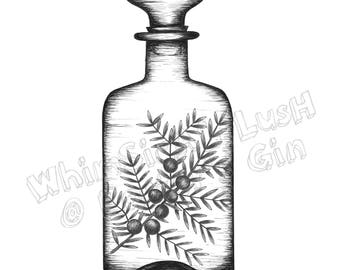 Gin Bottle with Juniper: Porter's Gin Limited Edition Print