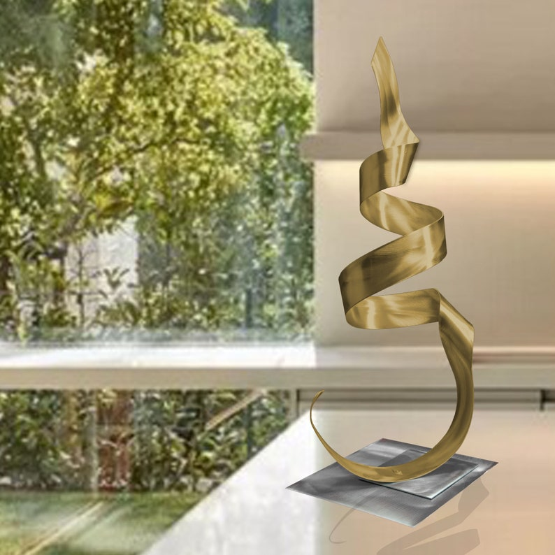 Metal Art Sculpture Home Decor Abstract Contemporary Modern Garden Poolside Decor Phoenix Gold
