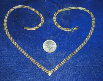 Gold Vintage Necklace Enamel Choker Beige Grey 70/'s Fashion Jewelry Sleek Disco Style