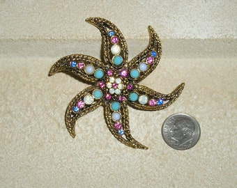 Vintage Beautiful Pink And Opalescent Rhinestone Starfish Brooch Pin 1960's Jewelry 2329