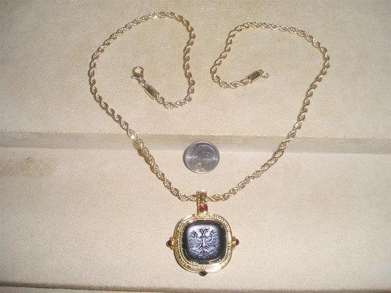 Vintage Signed Joan Rivers Black Glass Double Eagl