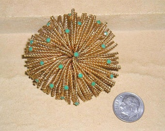 Vintage Brass Wire Work Rhinestone Fireworks Display Brooch 1940's Jewelry 24
