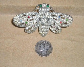 Vintage Rare Pot Metal Moth Brooch With Rhinestones 1930's Pin Jewelry K14