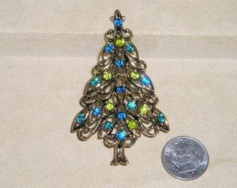 Vintage Christmas Tree Brooch Pin With Blue And Green Rhinestones 1970's Pin Jewelry 6048