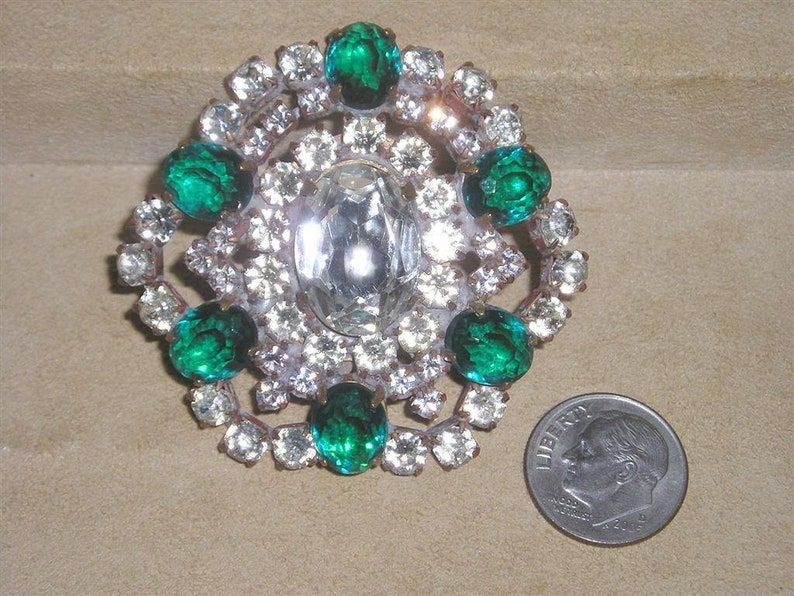 e266c9a0e Vintage Husar.D Green And Clear Rhinestone Brooch Pin   Etsy
