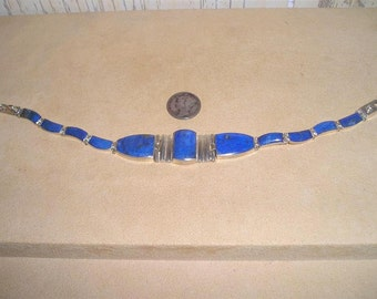 Vintage Sterling Silver 970 Bracelet With Lapis Stones 1970's Signed Jewelry 7071