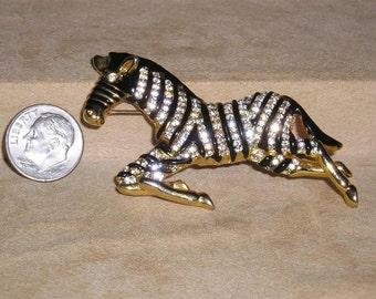 Vintage Enamel And Rhinestone Running Zebra Brooch Animal 1970's Jewelry 2252