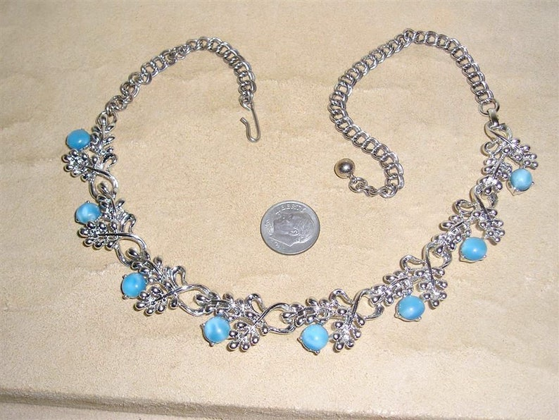 11cb713acf8cc Signed Star Vintage Blue Teal Glass Moonstone Choker Necklace With Silver  Tone Grape Clusters 1960's Jewelry 10067
