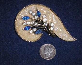 Vintage Coro Festive Rhinestone Brooch 1950's Signed Jewelry 2273