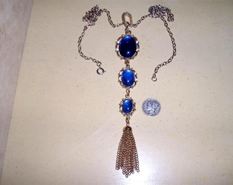 Vintage Drop Necklace With Blue Glass Cabochons 1970's Jewelry 2188