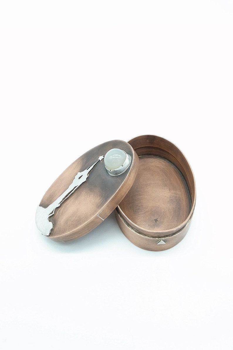 Clearance--Witch/'s Castle and Moon Handmade Oval Handmade Copper Box