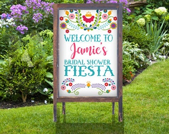fiesta poster sign welcome sign fiesta bridal shower sign wedding mexico cinco de mayo personalized you print