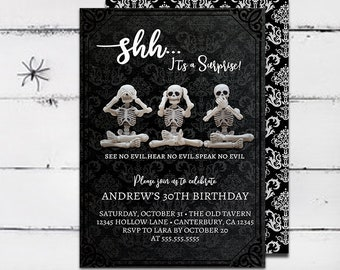 Halloween Birthday Invitation Surprise Skeleton Adult See No Evil Party Printable 5x7