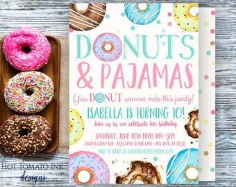 Donuts and Pajamas Invitation-donut invitation-donut party-donut birthday-birthday invitation-sleepover party-slumber party-custom-printable