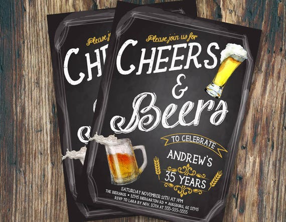 Cheers And Beers To 30 Years Invitation Birthday Chalkboard Mens Beer Typography Bachelor Retro Printable