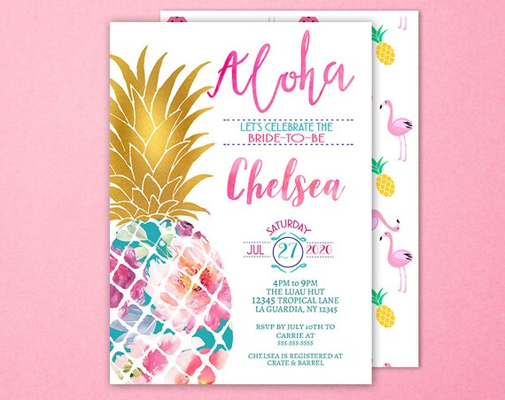 Pineapple invitation luau bridal shower invitation tropical etsy image 0 filmwisefo