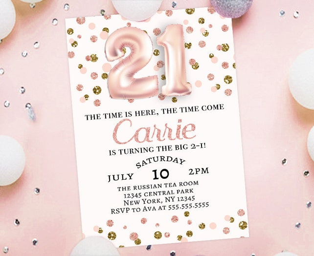 21st Birthday Invitation 21 Year Old Party Rose Gold Balloon Numbers Foil