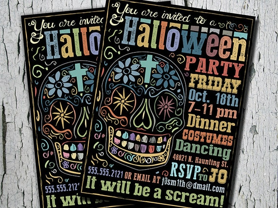 Day Of The Dead Wedding Invitations: Items Similar To Halloween Party Invitation