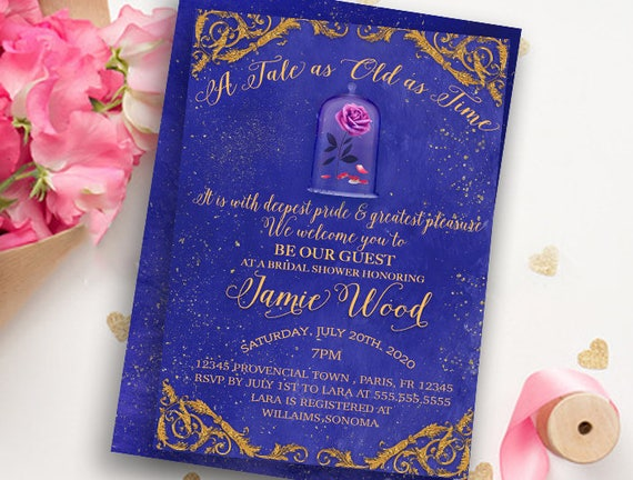 Beauty And The Beast Themed Wedding Invitations: Beauty And The Beast Invitation-Bridal Shower