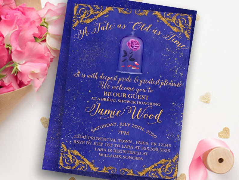 8dfdedb5502 Beauty and The Beast Invitation-Bridal Shower