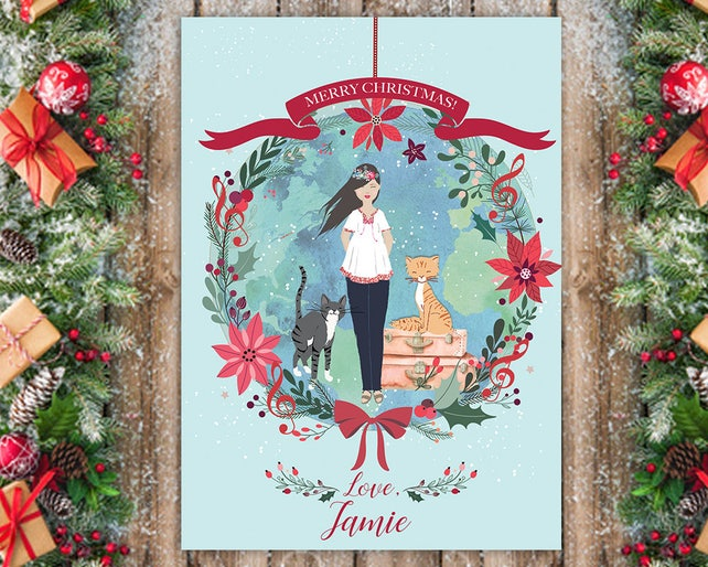 Custom Portrait Christmas Card- Personalized Christmas Card- Portrait card- people cards- ornament card- holiday card- unique holiday card