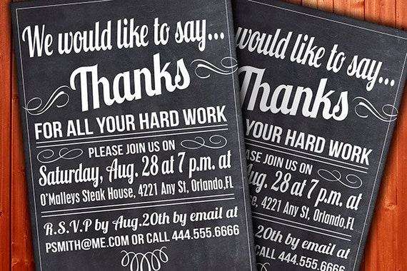 custom thank you invitation business function or party etsy