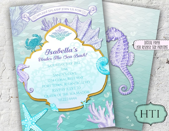 image relating to Printable Mermaid Baby Shower Invitations named Below the Sea Invitation-Mermaid Invitation- Pink and Teal