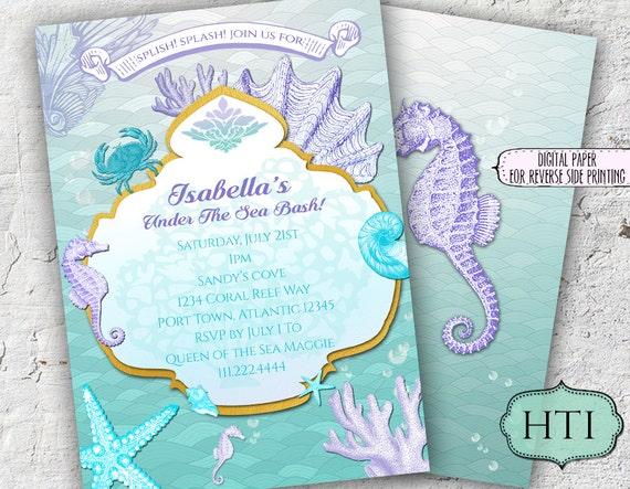 picture regarding Printable Mermaid Baby Shower Invitations named Below the Sea Invitation-Mermaid Invitation- Crimson and Teal