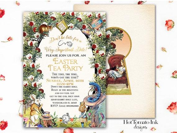 Alice in Wonderland Invitation- Alice in Wonderland Easter Invitation- Tea Party- Printable Digital 5x7 double-sided invitation
